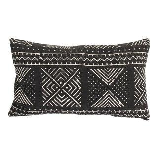 Black & White Mudcloth Lumbar Pillow