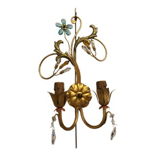Neoclassical Handcrafted Italian Gilt Metal and Crystal Sconces by Alba - a Pair For Sale