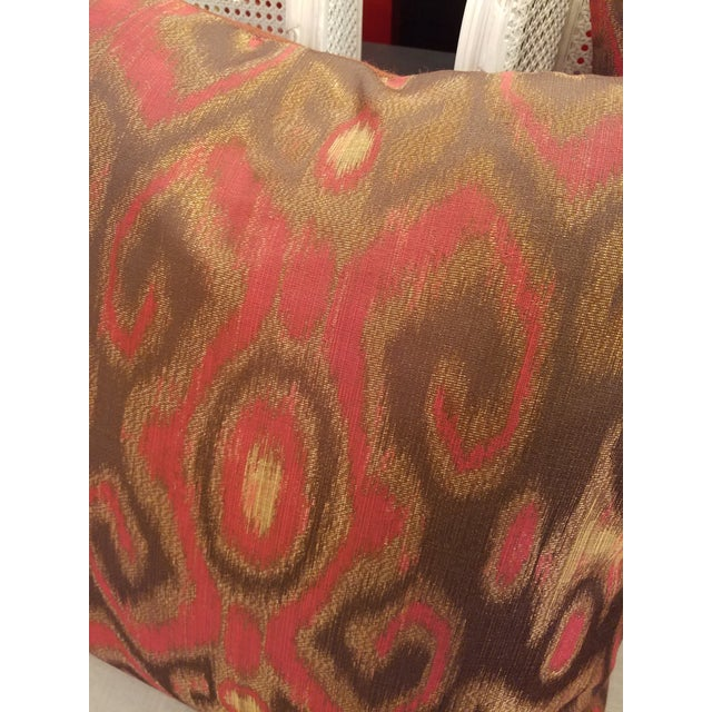 """Boho Chic Garnet Red & Bronze 24"""" Ikat Down Pillows - a Pair For Sale - Image 3 of 5"""