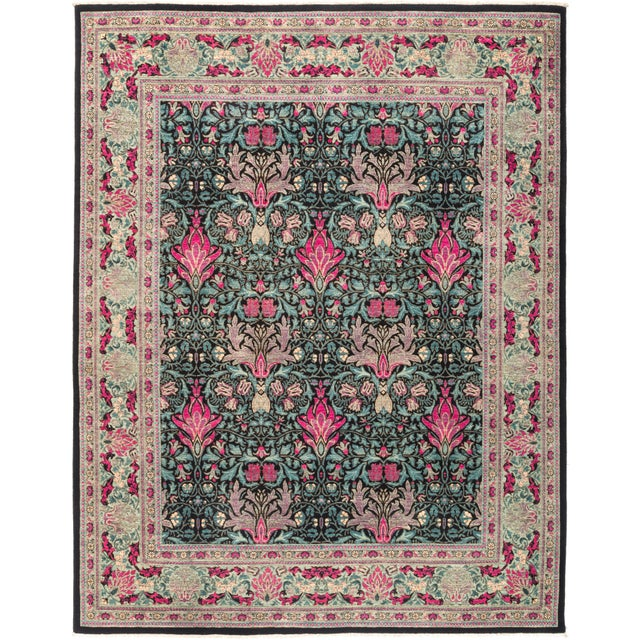 """Eclectic Hand Knotted Area Rug - 8' 1"""" X 10' 3"""" - Image 4 of 4"""