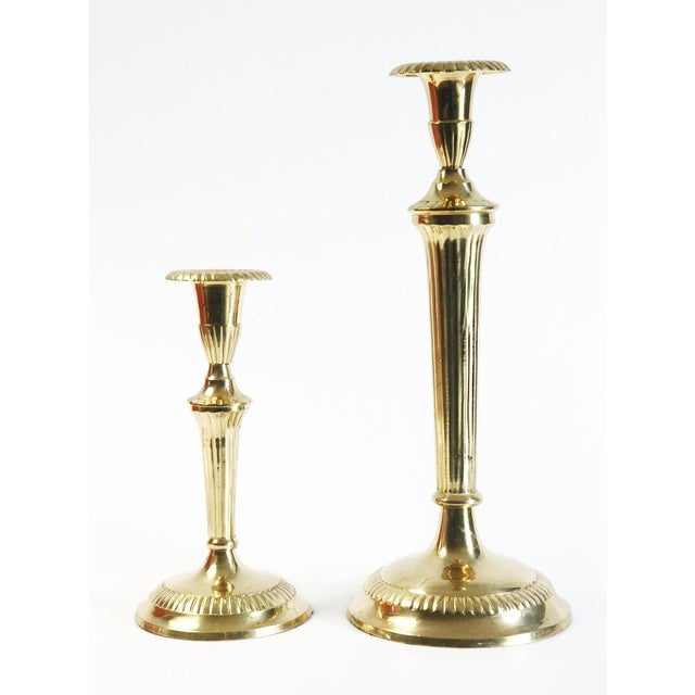 Scalloped Brass Candle Holders - A Pair For Sale - Image 6 of 6