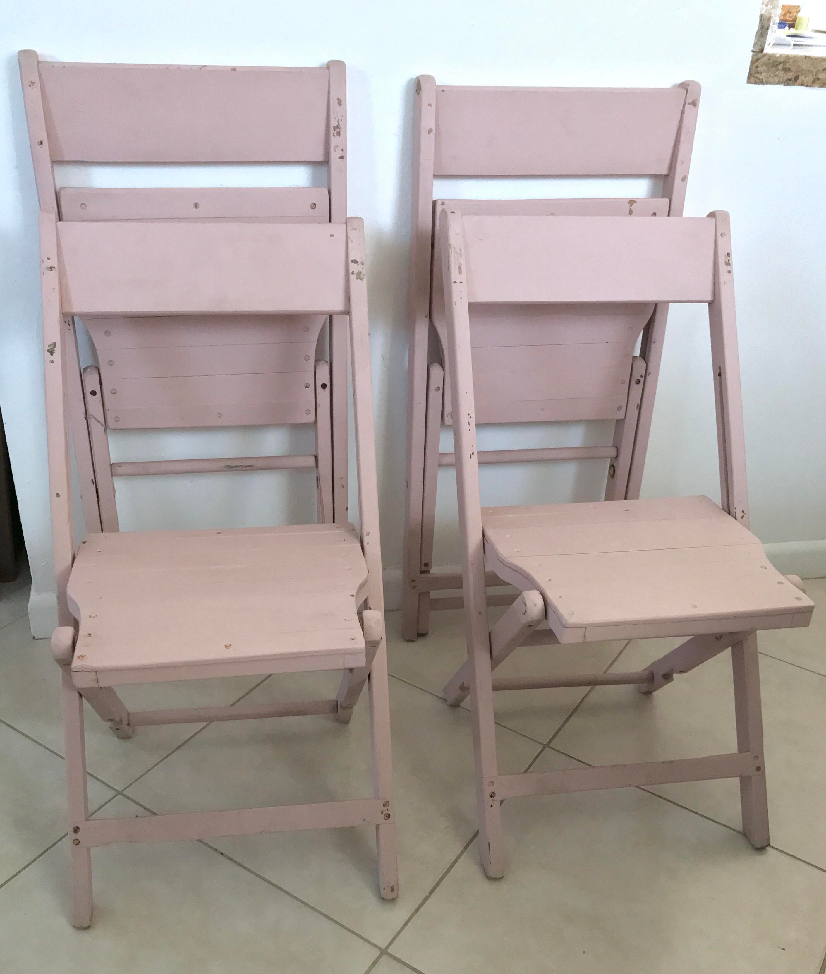 Vintage Light Pink Wood Bistro Folding Chairs   Set Of 4   Image 6 Of 11