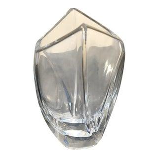 1980s Art Deco Crystal Vase For Sale