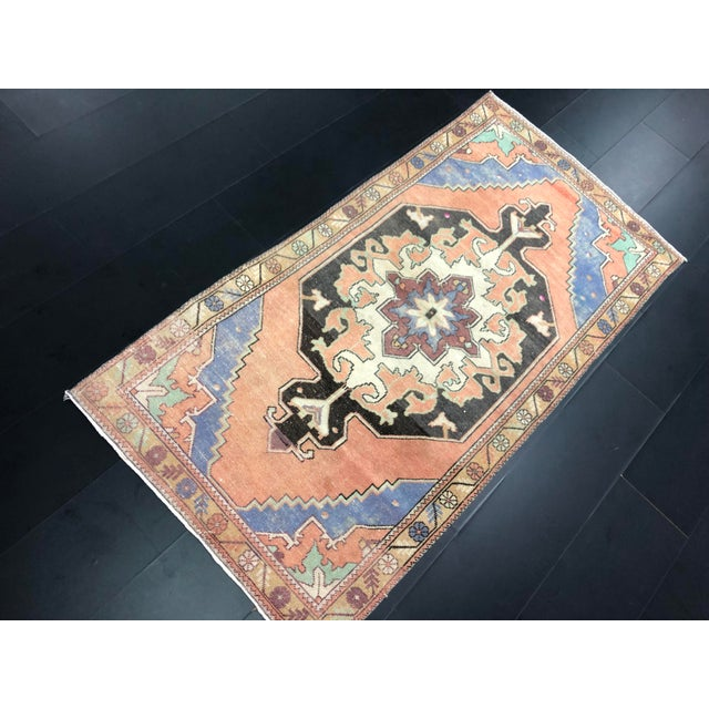 Vintage Anatolian Handmade wool Rug . One Of Kind Vintage Rug with perfect design and colors.