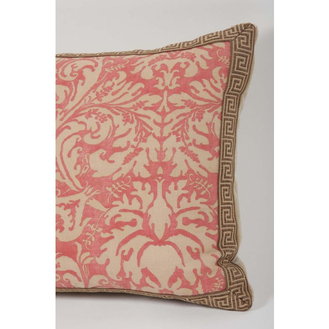 A pair of rose & beige colored Fortuny fabric pillows with Greek Key trim. Can be sold separately at $665 EACH. Sevres...