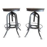 """Image of Restoration Hardware """"Toledo"""" Style Industrial Wood and Metal Counter Stools - a Pair For Sale"""