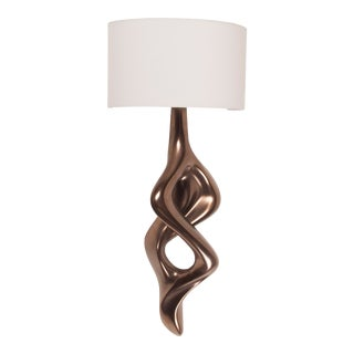 Amorph Nomi Sconces in Dark Bronze Finish With Ivory Silk Shade For Sale