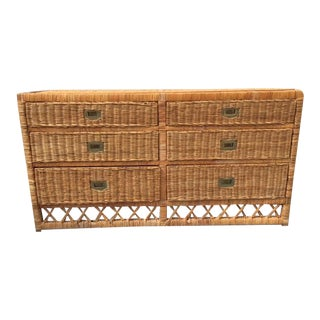 Vintage Wicker Chest of Drawers