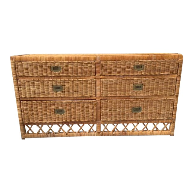 Vintage Wicker Chest of Drawers - Image 1 of 4