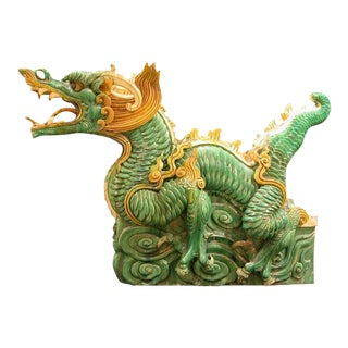 Ming Glazed Terracotta Architectural Sculpture of a Dragon For Sale