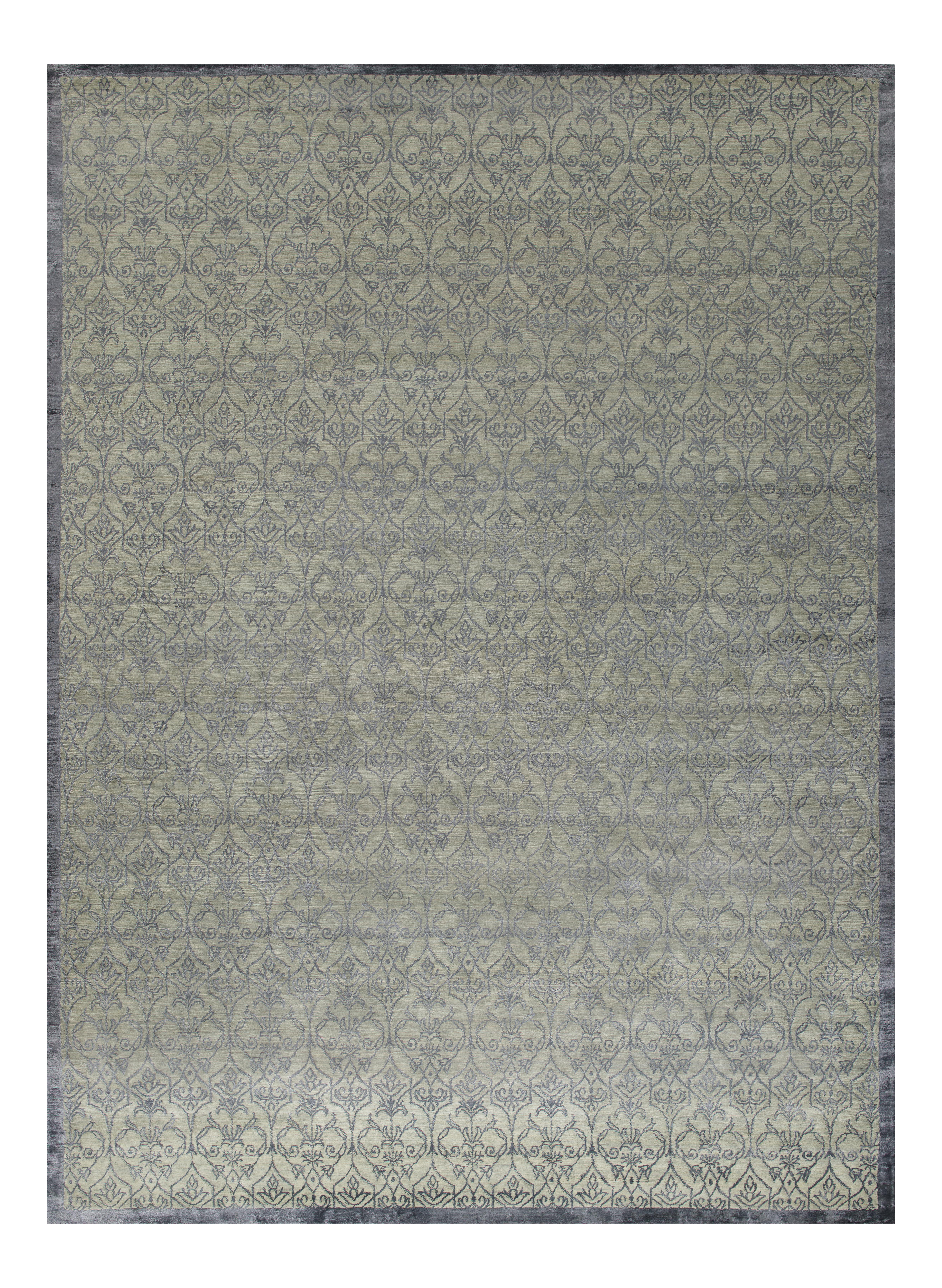 Stark Studio Rugs Contemporary Oriental Wool and Bamboo Silk Rug - 9' X 12' For Sale
