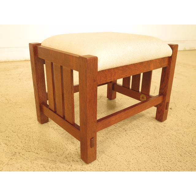 STICKLEY Mission Oak Arts & Crafts Ottoman Age: C.2006 Details: #32 Finish High Quality Construction Arts & Crafts Style...
