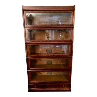 Vintage Globe Wernicke Stacking Oak and Glass Barrister Bookcase For Sale
