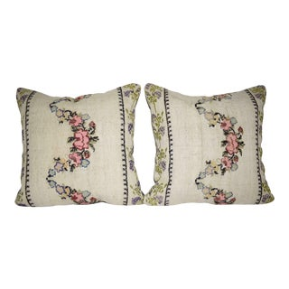 Set of Two French Decorative Accent Aubusson Kilim Throw Pillow Cover With Floral Pattern 20'' X 20'' (50 X 50 Cm) For Sale