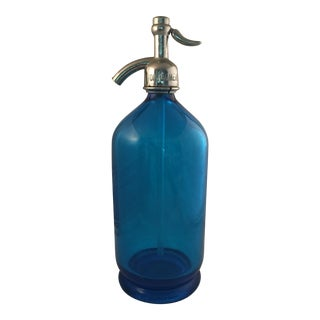 20th Century Art Deco Blue Seltzer Glass Bottle