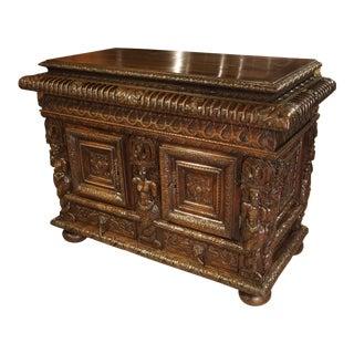French Walnut Wood Renaissance Buffet For Sale
