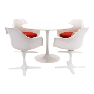 Tulip Table and Four Armchairs by Burke in the Style of Saarinen for Knoll For Sale