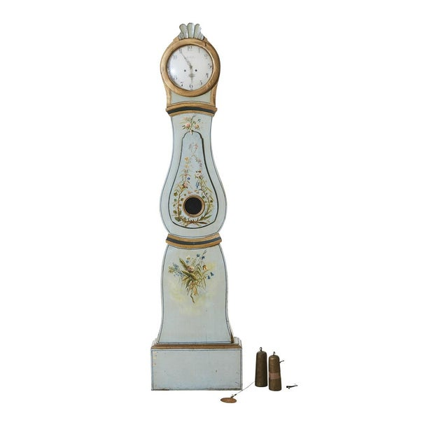 Floral Mora Clock Dated 1765 A rare and beautiful antique Swedish Mora Clock with original paint and delicate floral paint...