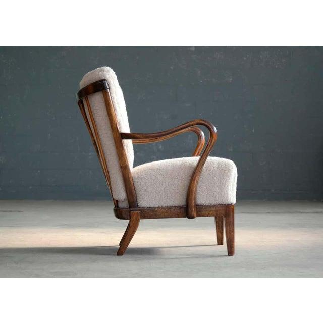 Cream Slagelse Mobelvaerk Model 117 Lounge Chair in Lambswool Danish Midcentury For Sale - Image 8 of 9