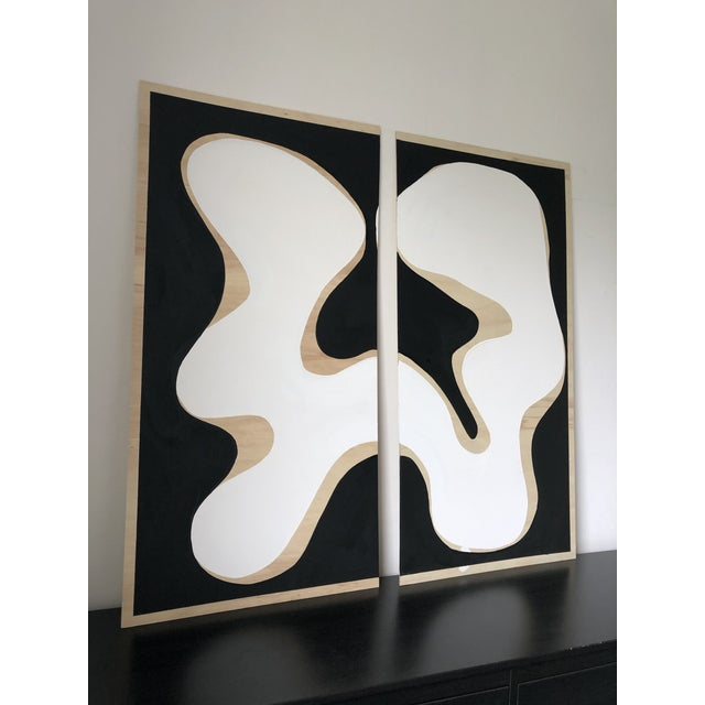 Abstract Exposed Birch Wood Abstract Black and White Diptych For Sale - Image 3 of 10