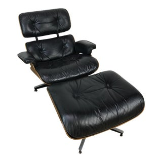 Herman Miller Eames Mid-Century Black Leather Lounge Chair and Ottoman