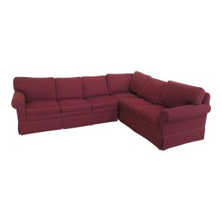 Ethan Allen Red Upholstered Sectional Sleeper Sofa For Sale
