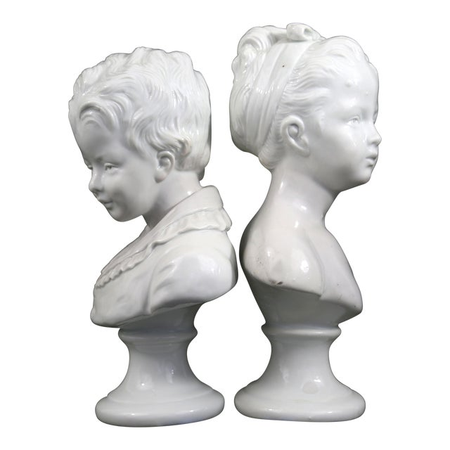 Vintage Porcelain Borghese Boy and Girl Busts by Houdon F. Kessler - a Pair For Sale