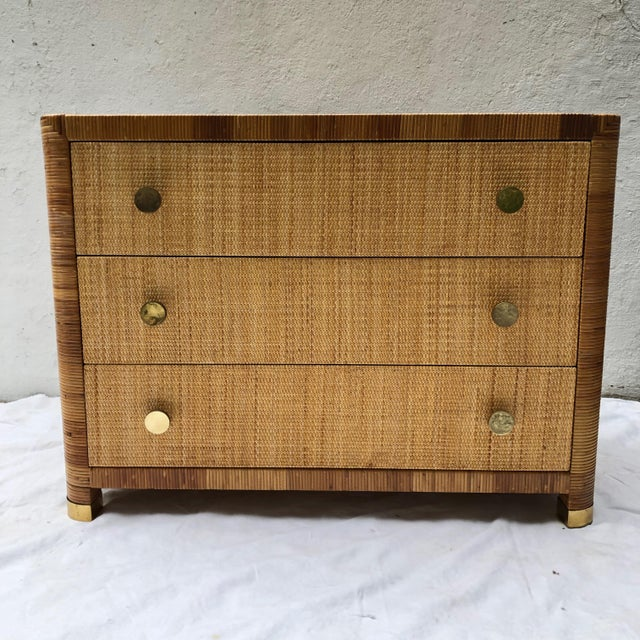 Wicker Rattan Cane and Wicker Chest of Drawers by Bielecky Brothers For Sale - Image 7 of 13