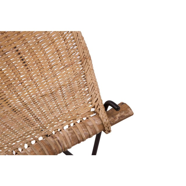 Mid-Century Modern John Risley Wicker and Iron Chaise For Sale - Image 3 of 7
