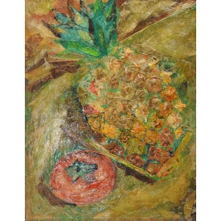 Mixed Media Pineapple Still Life Collage Painting For Sale