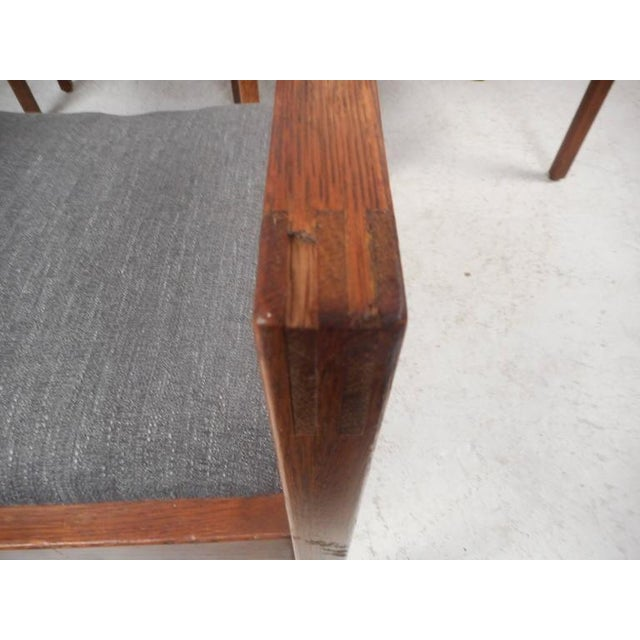 Textile Set of Five Mid-Century Modern Walnut Dining Chairs by Gunlocke Chair Company For Sale - Image 7 of 11