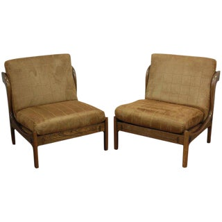 Pair Ib Kofod-Larsen Wenge Lounge Chairs for the Megiddo Collection For Sale