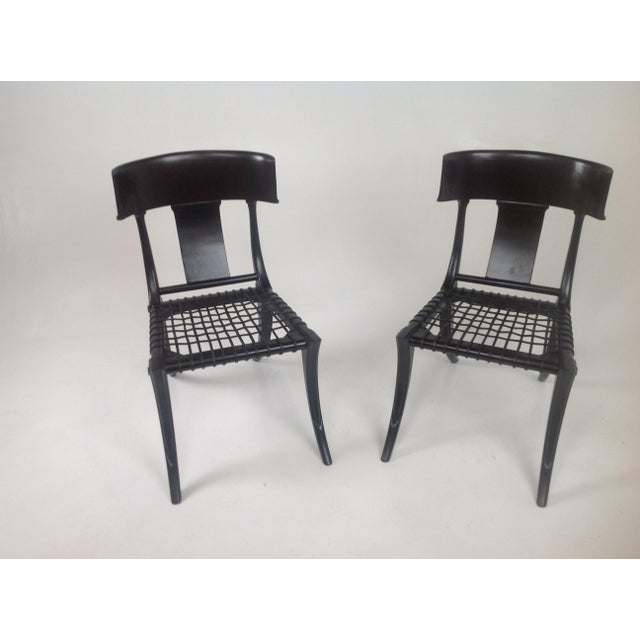 Contemporary Klismos Style Dining Chairs in Expresso Finish- Pair For Sale - Image 3 of 7