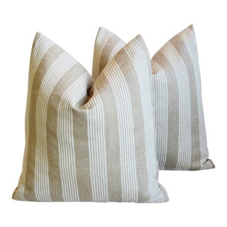 """French Tan & White Ticking Feather/Down Pillows 18"""" X 19"""" - Pair For Sale"""