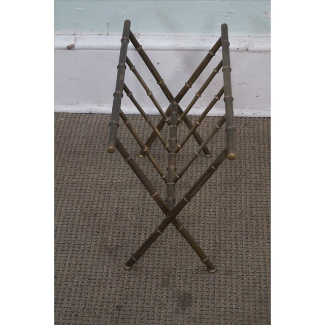 Hollywood Regency Faux Bamboo Brass Magazine Stand - Image 4 of 10