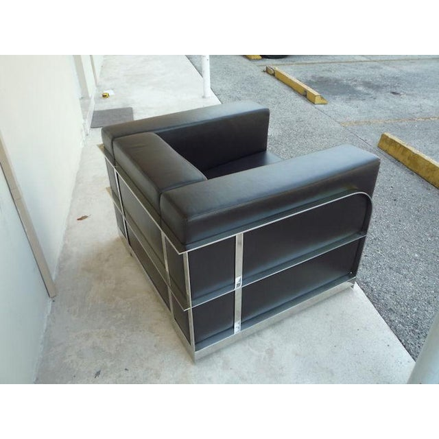 Metal 1990s Vintage Architectural Chrome & Leather Cube Chair For Sale - Image 7 of 9
