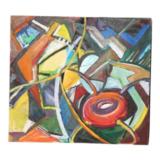 1960s Vintage Mid-Century Modern Abstract Painting For Sale