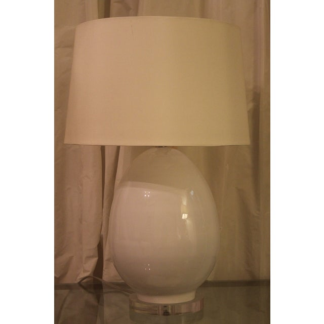 Modern Egg-Shaped White Glass Table Lamp For Sale In New Orleans - Image 6 of 6