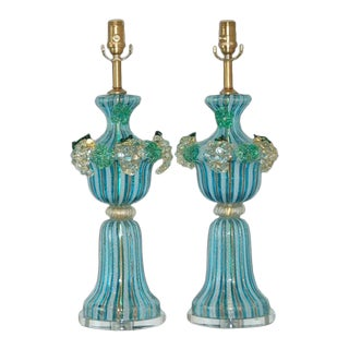 Dino Martens Murano Glass Lamps Turquoise For Sale