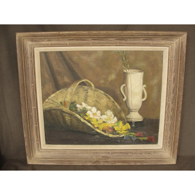 Mid-Century Modern Oil on Canvas Still Life For Sale - Image 10 of 10