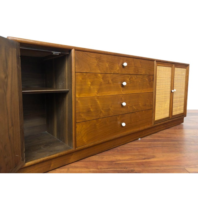 Wood Drexel Declaration Walnut Sideboard With Cane Accents For Sale - Image 7 of 12