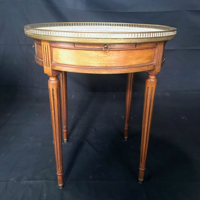 Brown French Louis XVI Style Marble Top and Walnut Bouillotte Side Table For Sale - Image 8 of 13