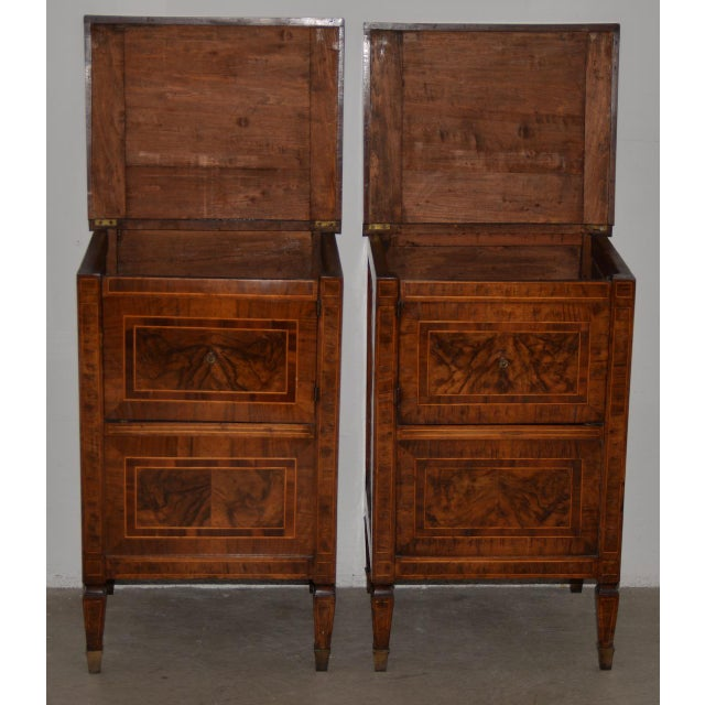 Pair of Magnificent Late 18th to Early 19th Century Walnut Side Tables W/ Cabinets For Sale - Image 4 of 9