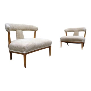 Mid Century Tomlinson Sophisticate Slipper Chairs ~ a Pair For Sale