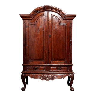Large Size Dutch Colonial Style Indonesian Bonnet Crest Armoire, 19th Century For Sale
