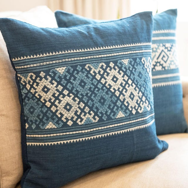 Blue & White Indigo Pillows - a Pair - Image 3 of 4