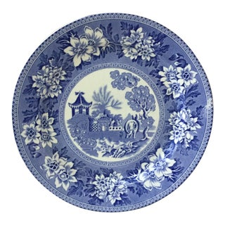 19th Century Blue and White Elephant Platter Chinoiserie Pagoda Burslem For Sale