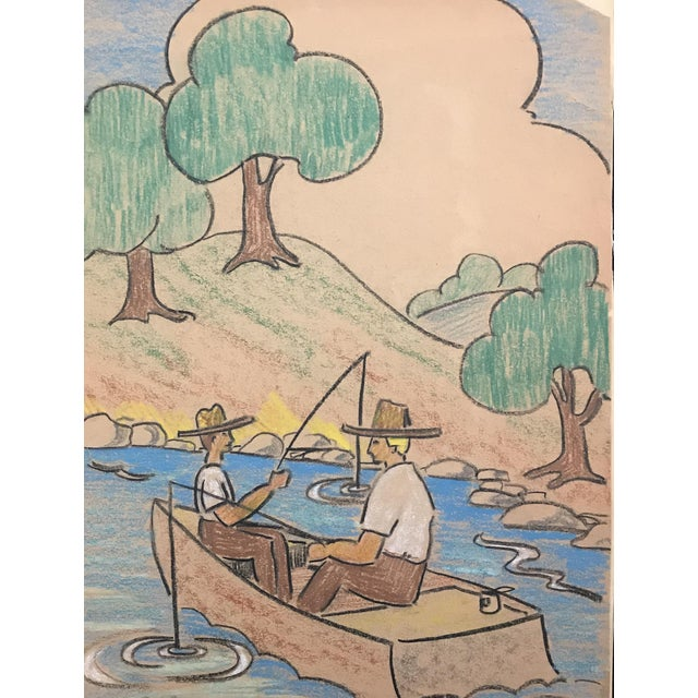 Vintage Mid-Century Men Fishing Pastel Drawing by Evelyn Underwood For Sale