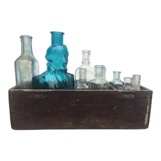 Vintage Bottles and Wood Tray - 12 Pieces For Sale