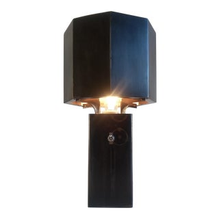 Stieglitz Black Metal Table Lamps - A Pair For Sale